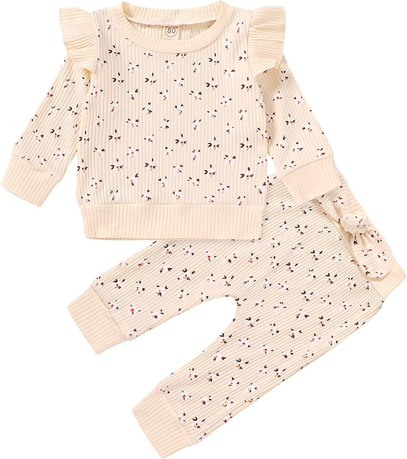 Toddler Girl Clothes Floral Long Sleeve Pullover Tops + Bow Long Pant 2PCS Baby Girls Outfit Set 6M-4Y