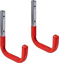 Gedotec garagehaken muurhaken met rubber coating rood voor werkplaats & magazijn | 150 x 210 mm | universele haken staal g...