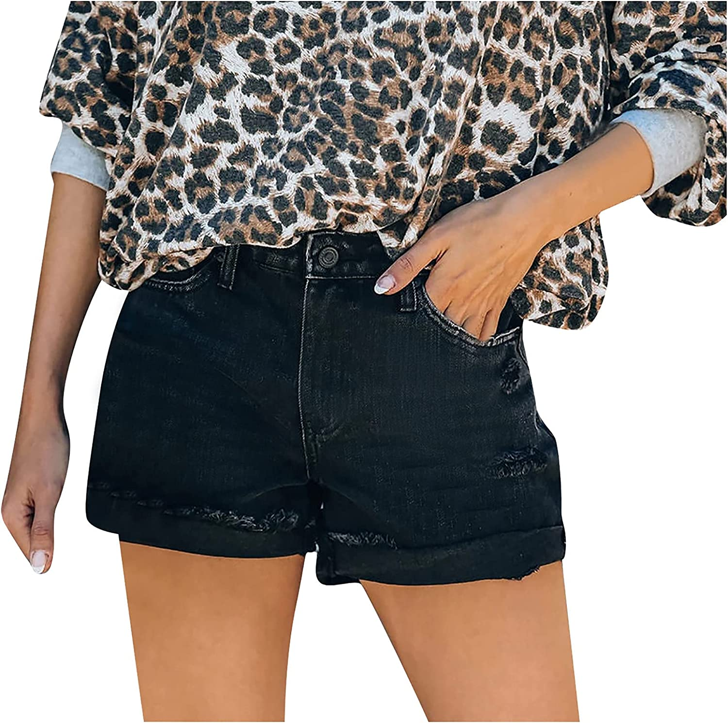 Fankle Denim Shorts for Women Distressed Ripped Shorts Jean Stretchy Frayed Raw Hem Hot Short Jeans with Pockets