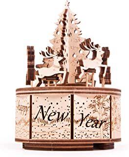 Wood Trick Music Box Santa's Carousel Model Kit - Carol of The Bells Beautiful Melody - Very Sturdy and Ecological - 6x4″ - Rotating - 3D Wooden Puzzle