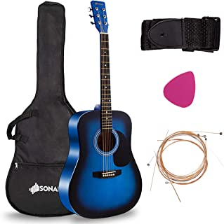 Sonart 41'' Full Size Beginner Acoustic Guitar, Professional Customization Smooth Mirror Structure Steel String W/Case, Shoulder Strap, Pick, Extra Strings for Kids, Starters, Blue