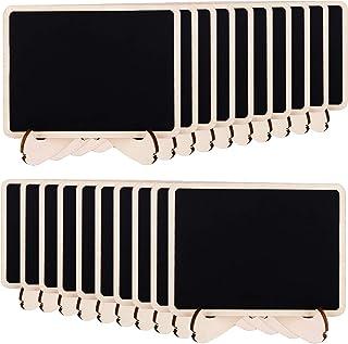 Amazon Basics Mini tableaux noirs sur chevalets en bois, lot de 20