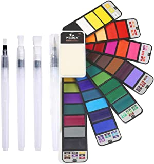 MEEDEN Watercolor Paint Set, 42 Assorted Colors Foldable Paint Set with 4 Brushes, Travel Pocket Watercolor Kit for Studen...