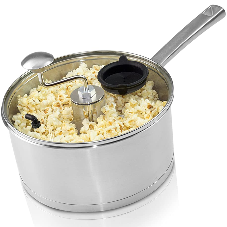 ワークショップ交差点インキュバス00001-08-POP Original Pop & Roast Stainless Steel Stovetop Popcorn Popper ポップコーンポッパー Zippy社 Stainless Steel【並行輸入】