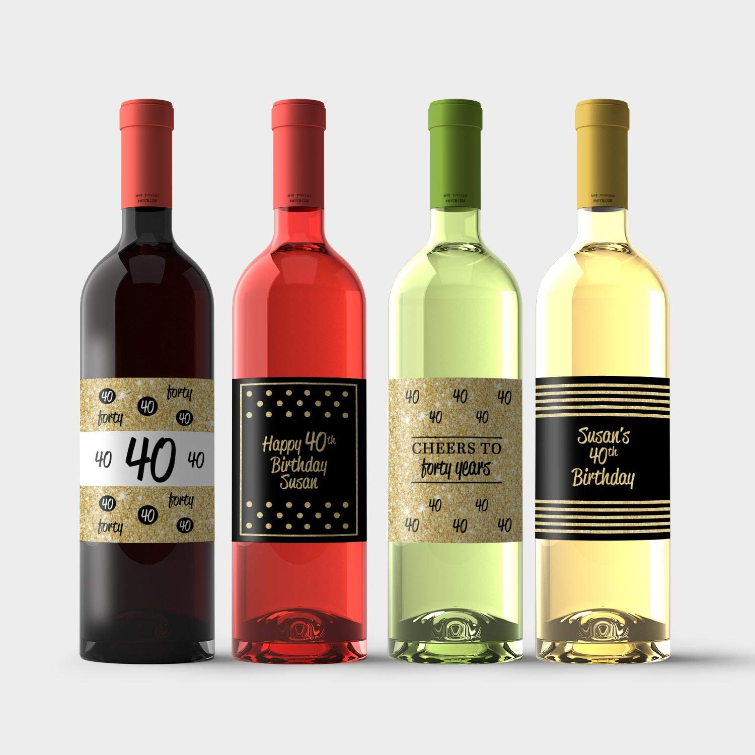 Wine Bottle Labels for 40th free shipping Birthday Direct sale of manufacturer Perso Gold Black - and