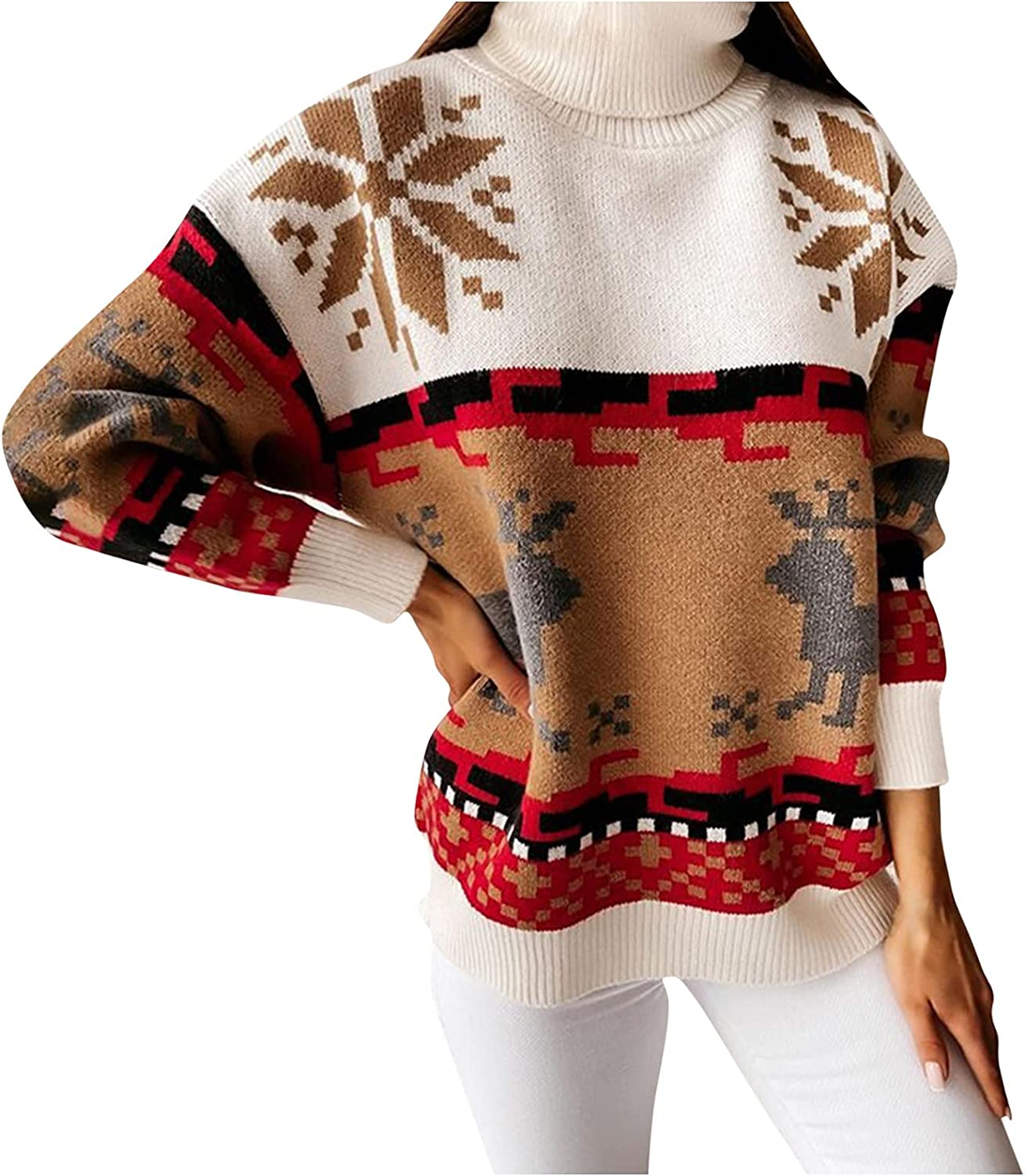 Christmas Sweater for Women Loose Elk Print Vintage Crewneck Pullover Comfy Casual Long Sleeve Fall Winter Blouse