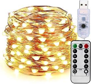 Guirnalda de Luces LED Decorativas 10 Metros 100 LEDs Blanco Cálido con Control Remoto (USB) para Habitacion Interior