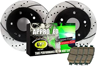 Premium Performance Drilled and Slotted Disc Brake Rotors Front Pair Approved Performance J32512R