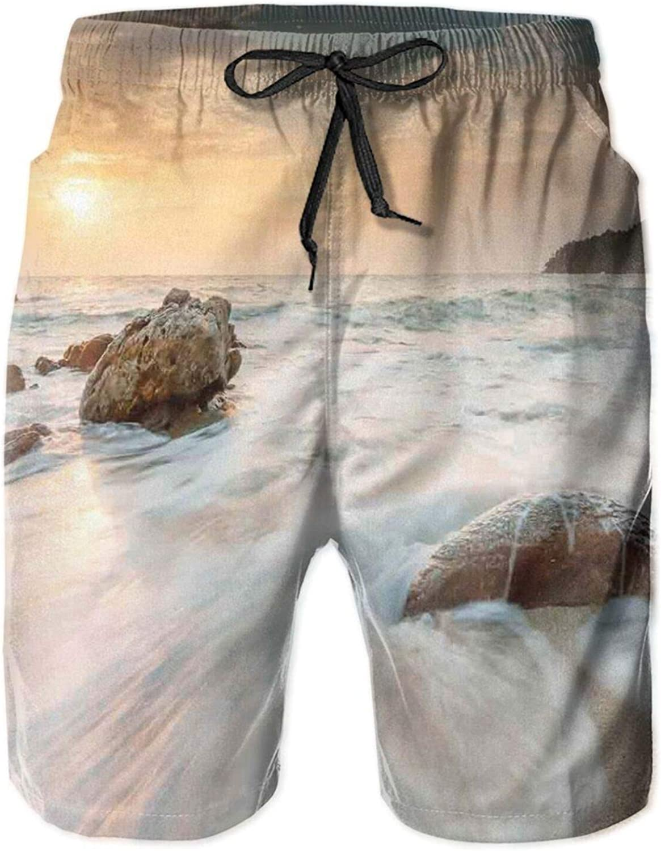 Grand Sea Waves On Beach and Horizon Sky Holiday Calm Dream Season Photograph Drawstring Waist Beach Shorts for Men Swim Trucks Board Shorts with Mesh Lining,L