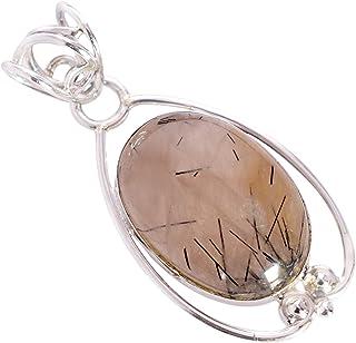 Ravishing Impressions Jewellery Colgante de plata de ley 925 con piedra de rutilo negro, ideal como regalo de cumpleaños F...