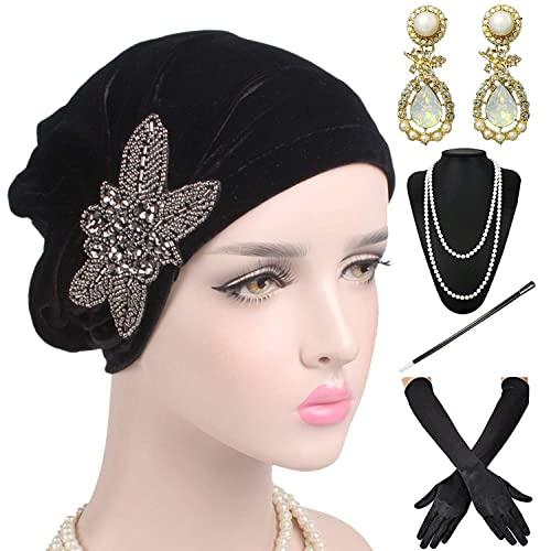 1920s Headwrap Accessories Set - Velvet Turban Hat Cap 134e718eb98