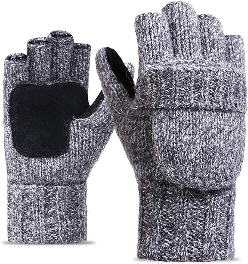 Men Women Chunky Knit Fingerless Mitten Exposed Gloves Winter Half Finger Gloves Winter Warm Gloves