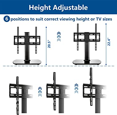 Rfiver Universal Swivel Tabletop TV Stand with Mount for 27 32 37 42 47 55 inch LED,LCD and Plasma Flat Screen TVs with Heigh