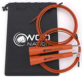 WOD Nation Speed Jump Rope - Blazing Fast Jumping Ropes - Endurance Workout for Boxing, MMA, Martial Arts or Just Staying ...