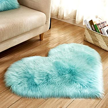 Heart Shaped Soft Faux Sheepskin Fur Area Rugs for Home Sofa Floor Mat Plush, 3ft x 2.2ft (Light Blue)
