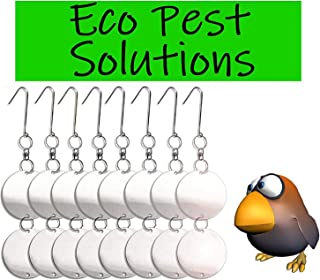 Bird Repellent Reflective Deterrent Diverter Blinders Discs. Scare Pigeons, Crows Away from Car Port, Balcony & Patio. Fruit Tree, Vegetable Garden Protection from Damage & Mess. Organic, Eco-Friendly