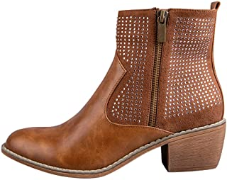 Sturrly🌻Ankle Boots Womens Leather Rivet Studded Buckle Strap Designer Boot Low Heel Booties