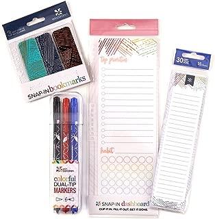 Erin Condren Woven Wonder Bundle: Snap-in Dashboard, StylizedSticky Notepad, Mini Snap-in Bookmarks, Designer Dual Tip Markers