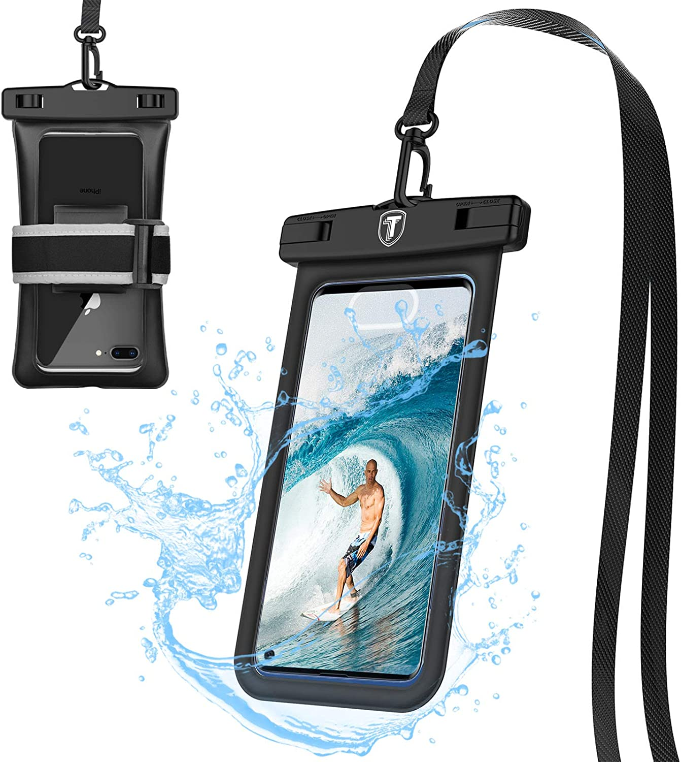 Tiflook Floating Waterproof Phone Pouch with Lanyard and Armband Dry Bag Holder Underwater Case for Motorola Moto G Power G Stylus G Play E E6 One 5G G7 Power G7 Play G6 Z4 Z3, Black