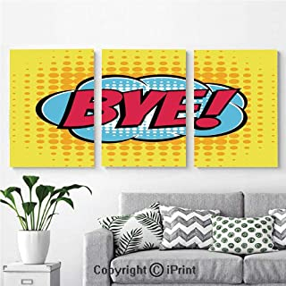 Modern Gallery Wrapped Canvas Print Comic Book Bubble Text Retro Style Bye Cartoon 3 panels Pictures on Canvas Wall Art Ready to Hang for Living Room Kitchen Home Decor,12