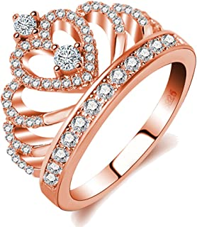 Rings Women 18K Rose Gold Plated AAA Cubic Zirconia Princess Crown Ring Girl Gift Wedding Engagement
