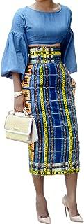 Womens Skirts African Print High Waisted Skirt Dashiki Pencil Summer Midi Dresses