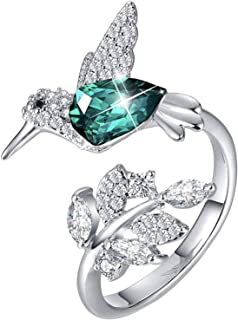 DYD Hummingbird S925 Silver Women Crystals Rings Open Design Fine Jewelry for Women, Gift for Valentines Day, Christmas, B...