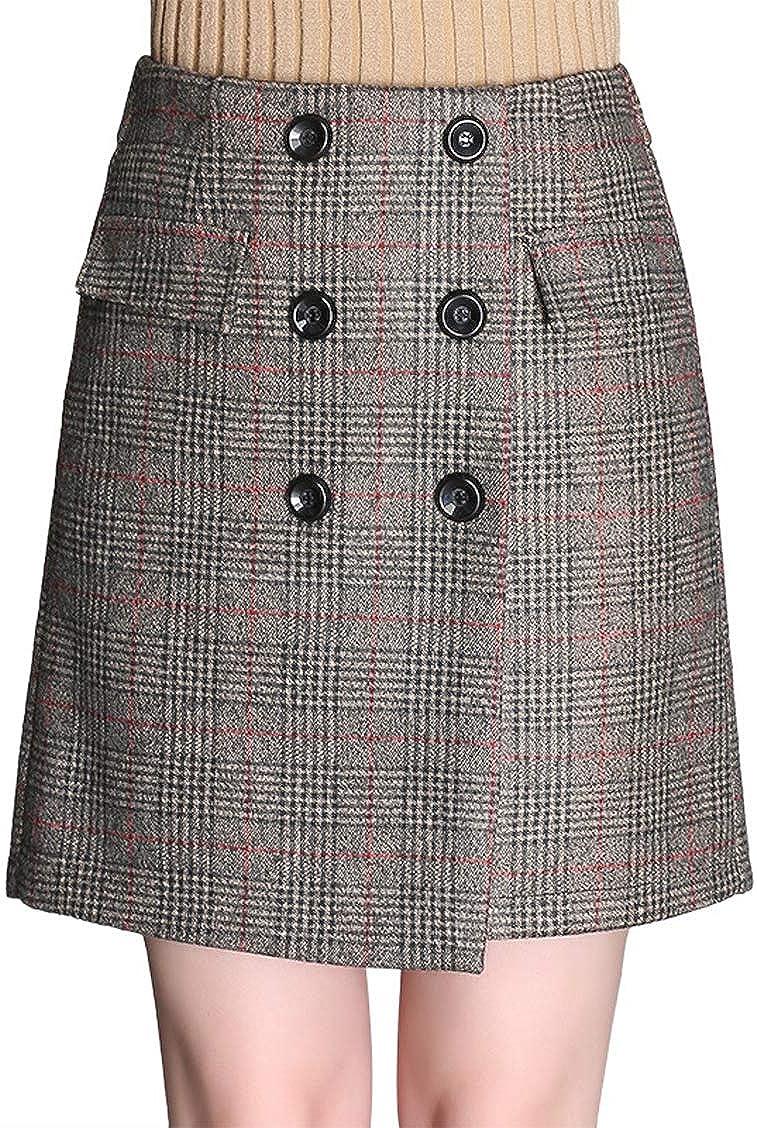 chouyatou Women's Vintage Wear to Work Button A Line Mini Plaid Skirt