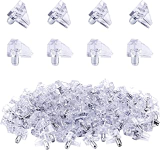 Apipi 100 Pieces Clear Shelf Support Pegs -5 mm Cabinet Shelf Clips,Shelf Holder Pins Bracket Steel Pin for Cabinet Furniture Book Shelves Supplies
