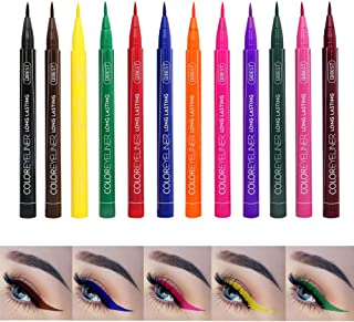 COOSA Matte Liquid Eyeliner 12 Colors Waterproof Eyebrows Pencil Long Lasting Liquid Eye Liner Pen Set -12PCS