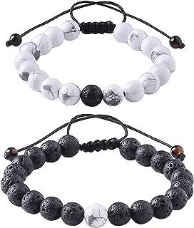 Distance Relationship Bracelet for Lover-2pcs Black Lava Rock & White Howlite Stone 8mm Beads