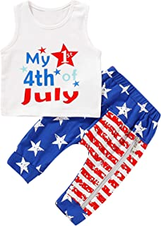 Mutigge Newborn Baby Boys My First 4th of July Outfits Sleeveless Vest American Flag Pants Outfit Set
