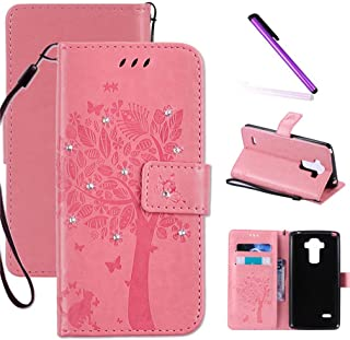 LG G4 Case, LEECOCO Embossed Floral 3D Handmade Bling Crystal Diamonds Butterfly with Card Slots Magnetic Flip Stand PU Leather Wallet Case for LG G4 Wishing Tree Pink