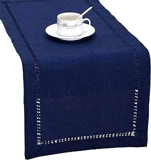 Grelucgo Handmade Hemstitch Solid Navy Blue Nautical Rectangular Table Runner Or Dresser Scarf (14 x 60 Inch)