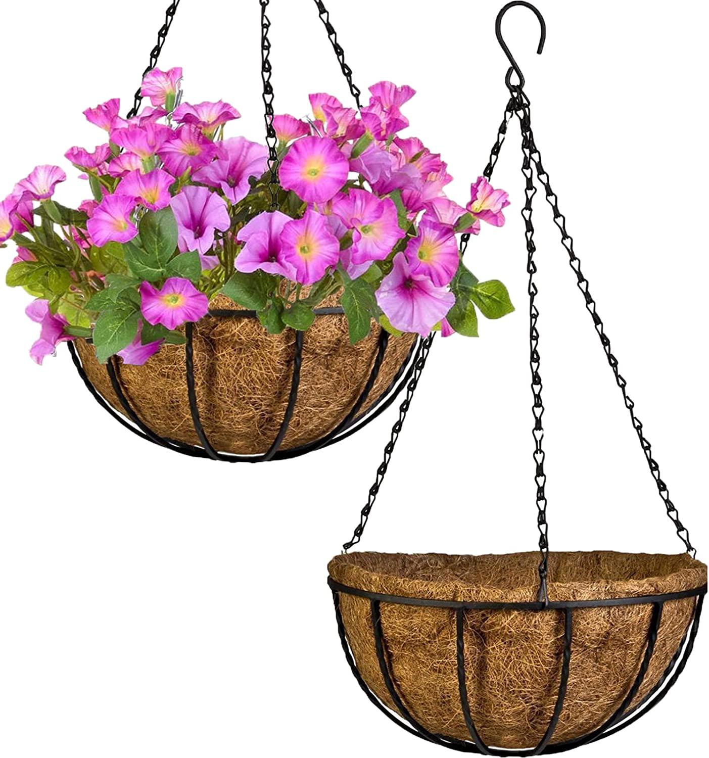 PACDONA 2 Pack Hanging Pots for Liner Discount is also underway Indefinitely Coco Coir with 12'' Plants