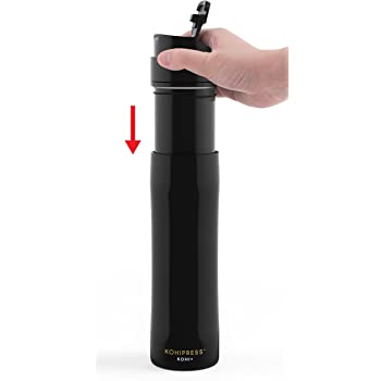 KOHIPRESS The Original Portable French Press Coffee Maker | Vacuum Insulated Travel Mug | Premium Stainless Steel | Hot and Cold Brew (12 oz) | Great for Commuter, Camping, Outdoors and Office (Black)