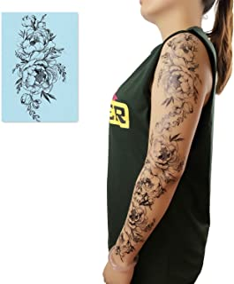 DaLin 4 Sheets Black Flower Temporary Tattoos for Women (Peony Flower)