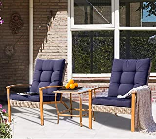 SUNCROWN Outdoor Furniture 3-Piece Patio Bistro Set: Grey Wicker Patio Furniture W/Wood-Grain Arm Rest - Two Chairs with Glass Coffee Table (Nautical Navy Cushion)