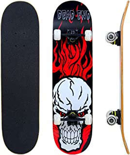 """IMITOR Complete Skateboards for Beginners Standard Skateboard Cruiser 31"""" x 8"""" 8 Layer Canadian Maple Wood Double Kick Concave Skate Board for Boys Girls Kids Youths Adults"""