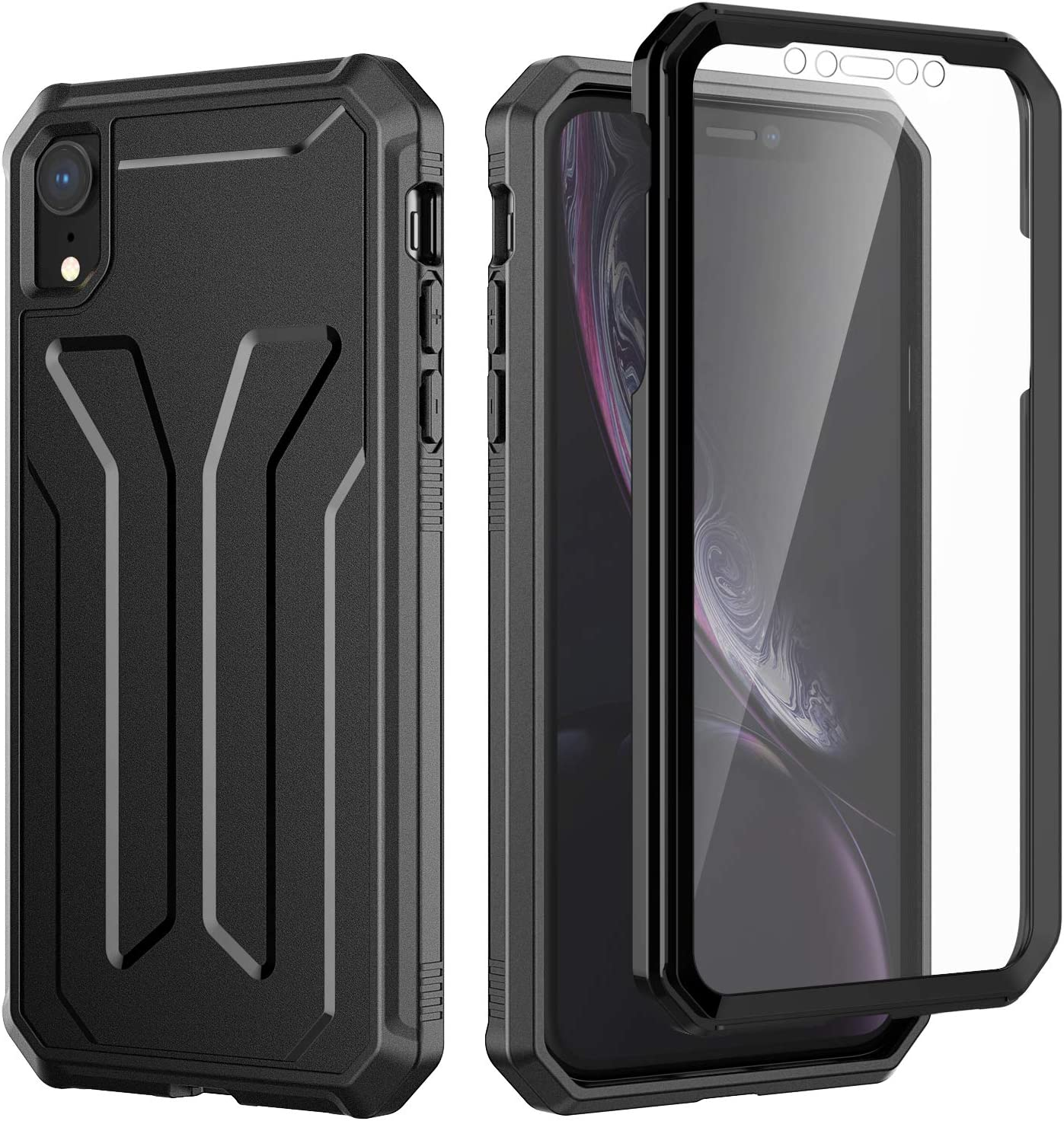 JETech Case for iPhone XR 6.1-Inch, 360 Degree Full Body Protection Cover with Built-in Sensitive Anti-Scratch Screen Protector, Shock-Absorption, Black