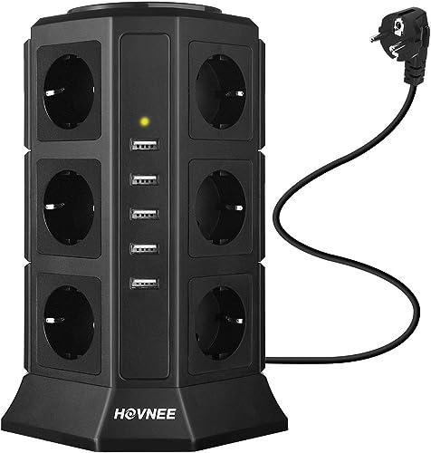 HOVNEE Tour Multiprise, Multi Prises Électriques avec 12 Prises, 5 Ports USB Protection Contre Les Surcharges et Les ...