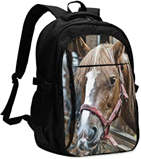 Mochila USB Bolsa para portátil Running Horse Backpack Personality with USB Backpack Laptop Bag Waterproof Travel Daypack for School