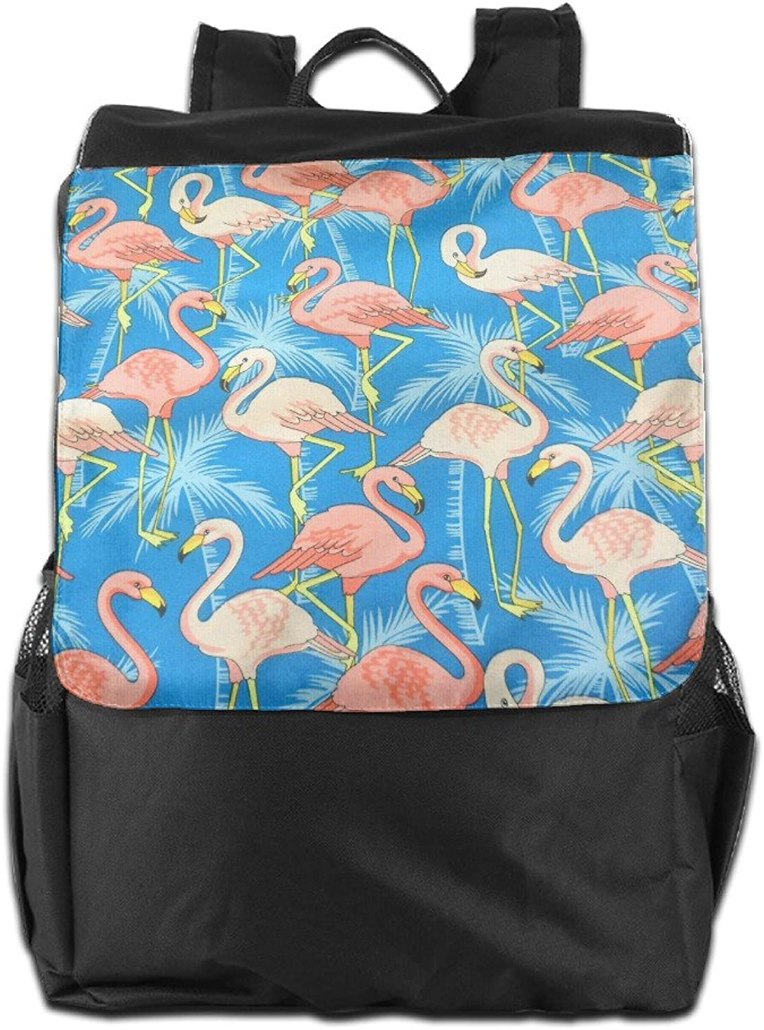 Pink Flamingo Palm Tree Outdoor Travel Hiking Backpack Daypacks Casual Camping Climbing Shoulders Bag Unisex