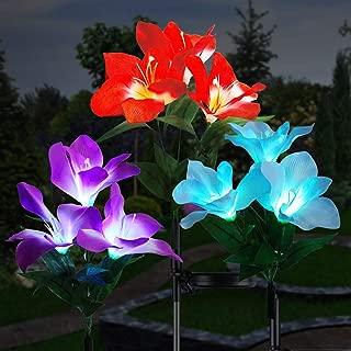 Solar Garden Lights, Cuteadoy Outdoor Solar Garden Stake Lights 3 Clivia Solar Lights Outdoor Decorative Multi-Color Changing LED Flower Lights for Garden/Yard/Patio (Clivia-3pcs)