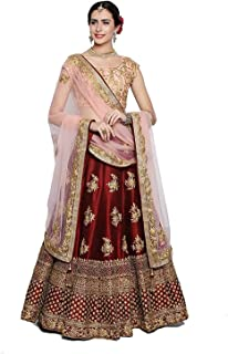4a943c14e3 Shree Enterprise Women's Taffeta Satin Semi-Stitched Heavy Silk Lehenga  Choli (kc, Maroon