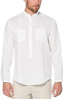 Cubavera Men's Long Sleeve 100% Linen Tunic-Style Shirt with Pockets and Pleats