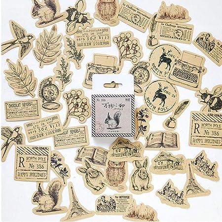 Gamloious Vintage Stickers Animaux Scrapbook DIY Artisanat et Scrapbooking Décoration Fournitures Set Autocollants en Papier pour Diary Album 46pcs / Set