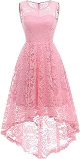 MUADRESS Women's Vintage Floral Lace Sleeveless Hi-Lo Cocktail Formal Swing Dress