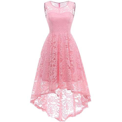 d625a8655b2d MUADRESS Women's Vintage Floral Lace Sleeveless Hi-Lo Cocktail Formal Swing  Dress