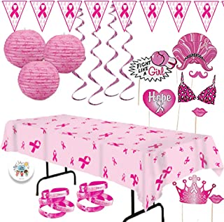Pink Ribbon Breast Cancer Awareness Party Supplies and Decoration Pack Perfect For Charity Booths With Pink Ribbon Banner, Tablecover, Lanterns, Hanging Swirls, Photo Booth Props, Bracelets, and Pin
